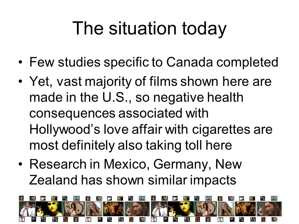 The situation today Few studies specific to Canada completed
