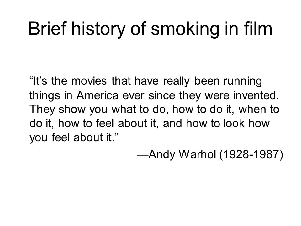 Brief history of smoking in film