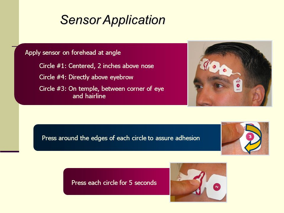 Sensor Application Apply sensor on forehead at angle