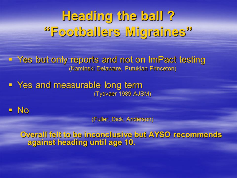 Heading the ball Footballers Migraines