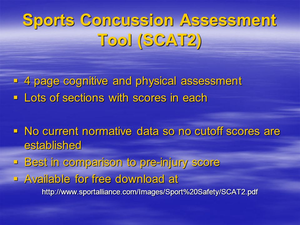 Sports Concussion Assessment Tool (SCAT2)