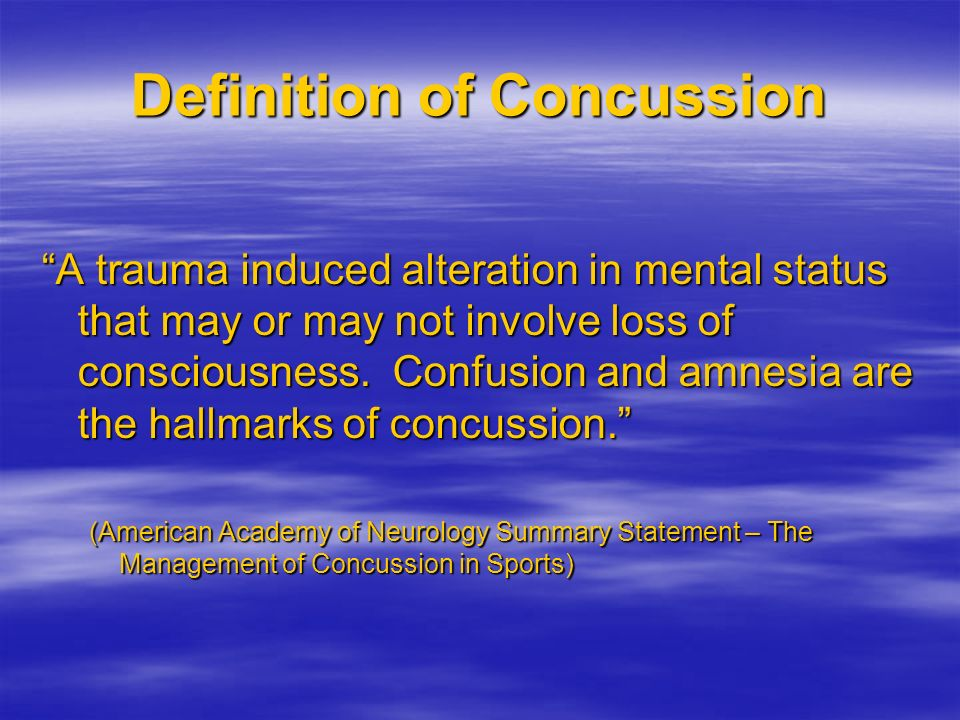 Definition of Concussion