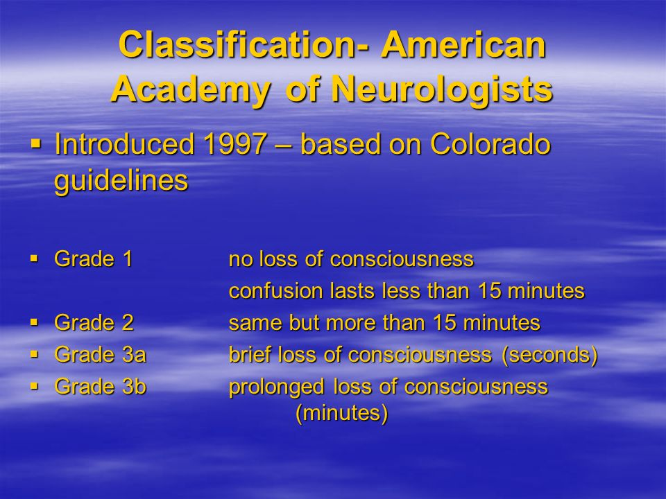 Classification- American Academy of Neurologists