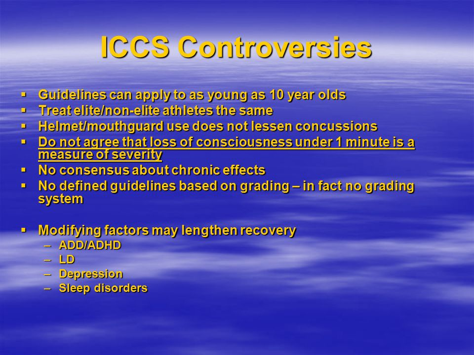 ICCS Controversies Guidelines can apply to as young as 10 year olds