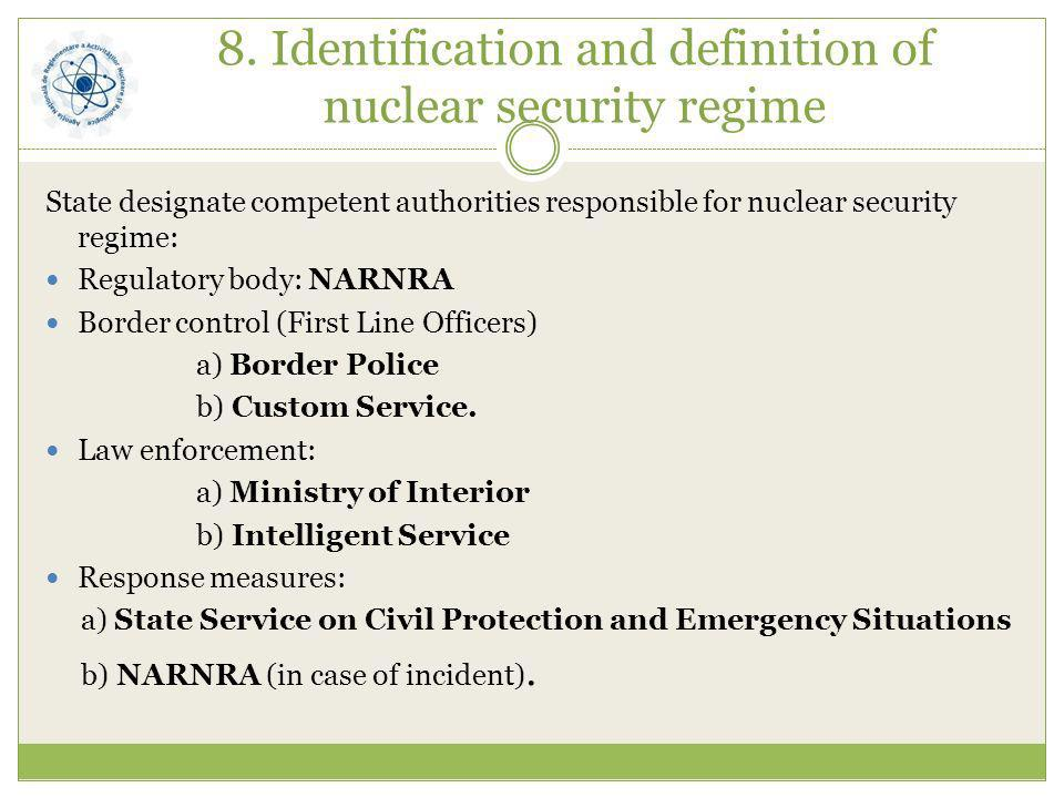8. Identification and definition of nuclear security regime