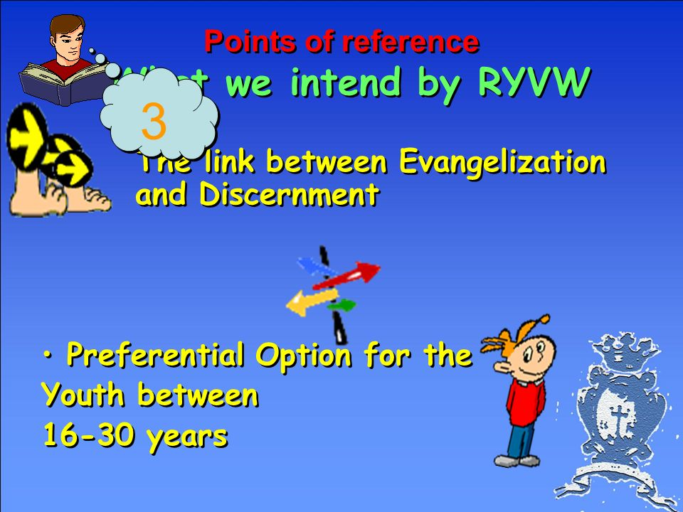 Points of reference What we intend by RYVW