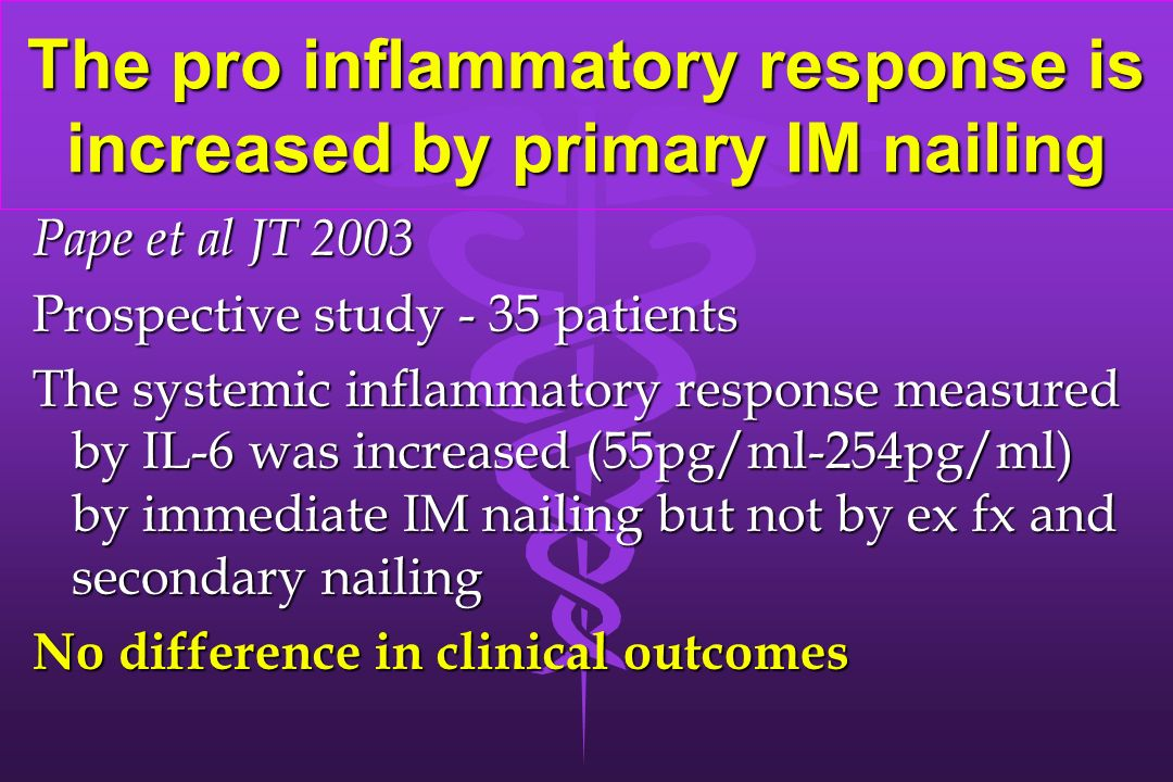The pro inflammatory response is increased by primary IM nailing