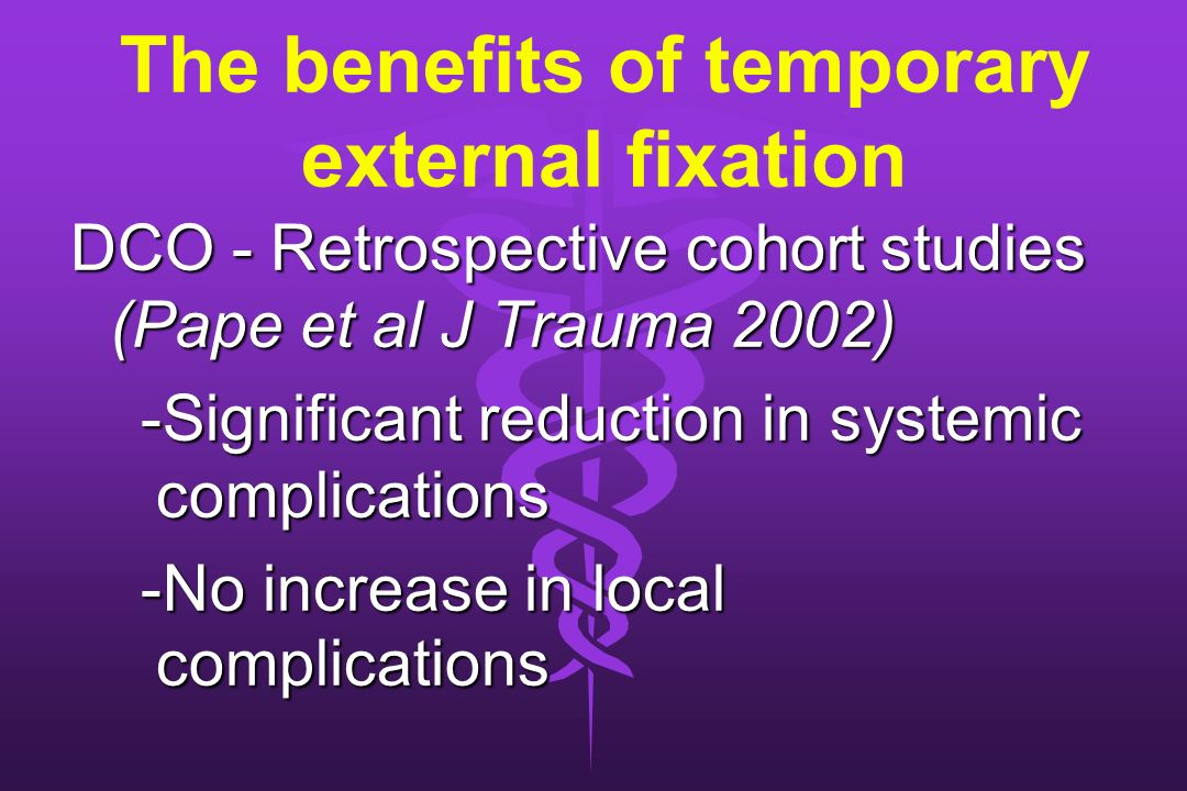 The benefits of temporary external fixation