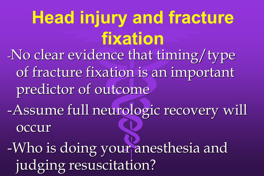 Head injury and fracture fixation