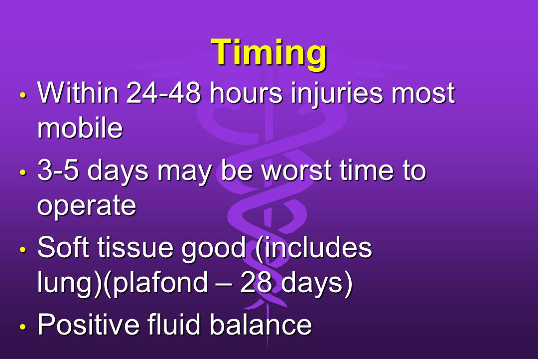 Timing Within hours injuries most mobile