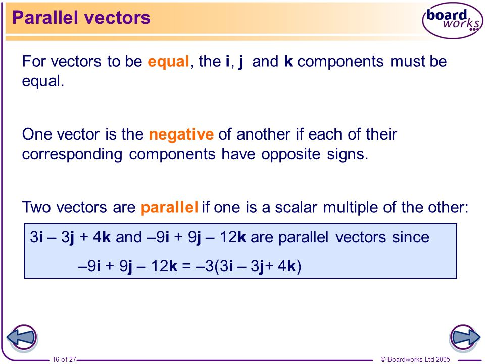 Parallel vectors For vectors to be equal, the i, j and k components must be equal.
