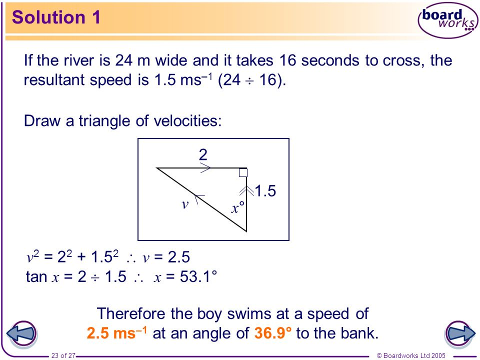 Solution 1 If the river is 24 m wide and it takes 16 seconds to cross, the resultant speed is 1.5 ms–1 (24  16).