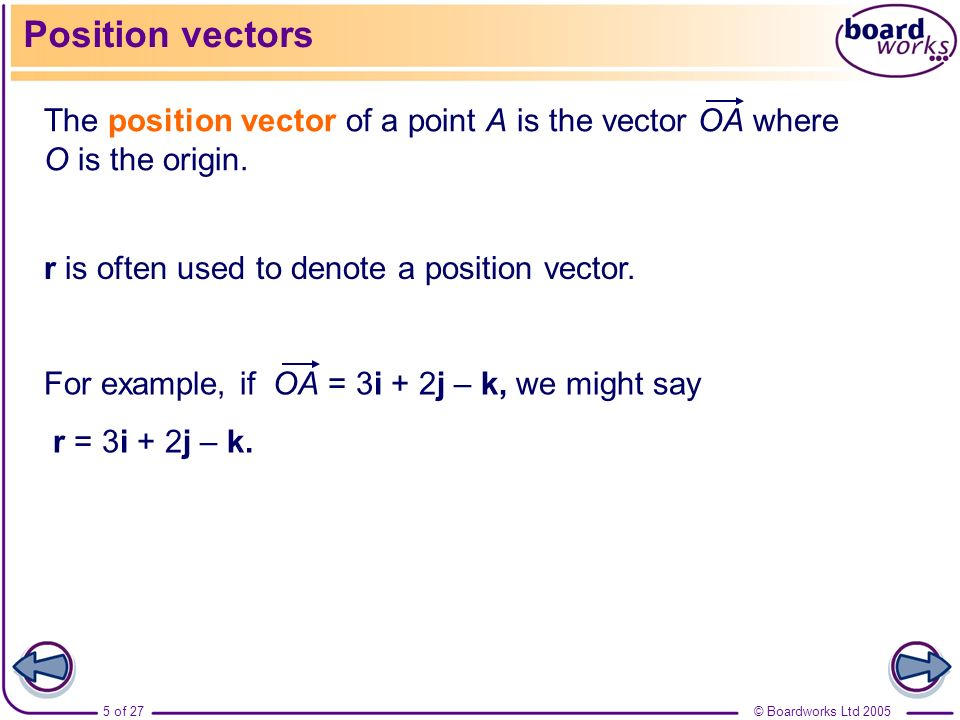 Position vectors The position vector of a point A is the vector OA where O is the origin. r is often used to denote a position vector.