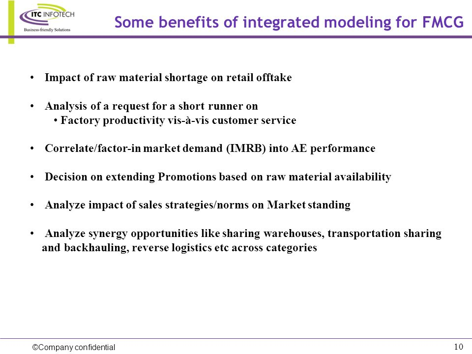 Some benefits of integrated modeling for FMCG