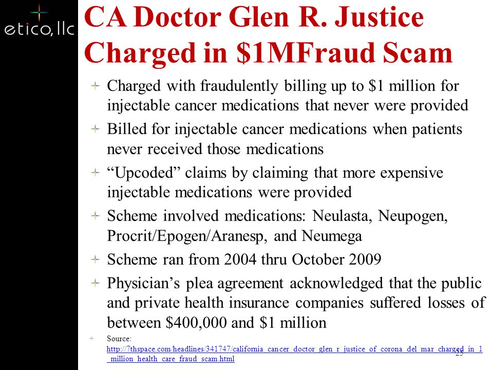 CA Doctor Glen R. Justice Charged in $1MFraud Scam