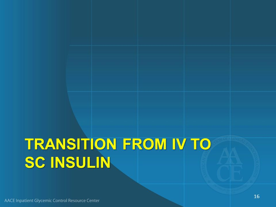 Transition from IV to SC Insulin