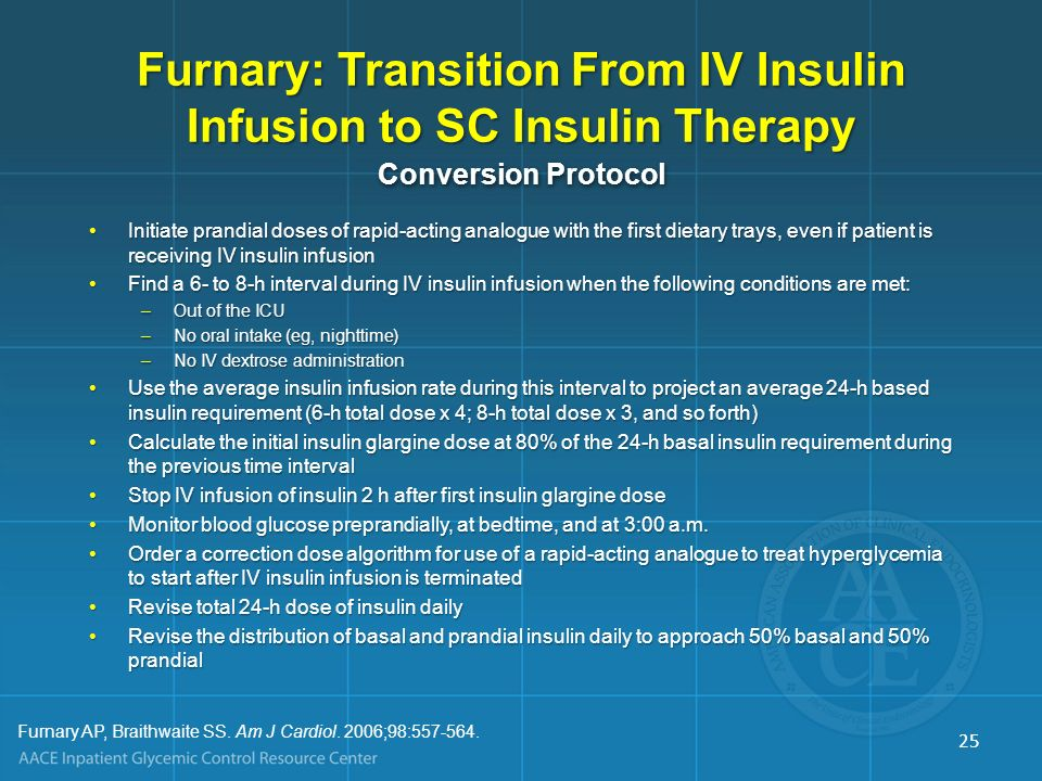 Furnary: Transition From IV Insulin Infusion to SC Insulin Therapy