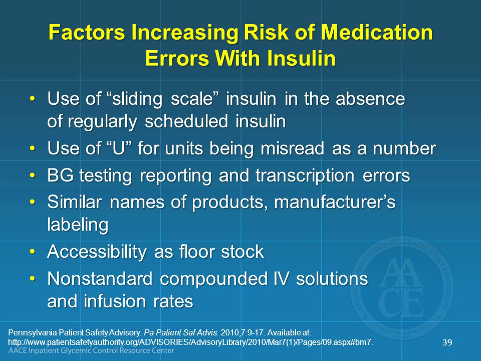 Factors Increasing Risk of Medication Errors With Insulin