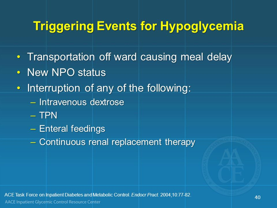 Triggering Events for Hypoglycemia