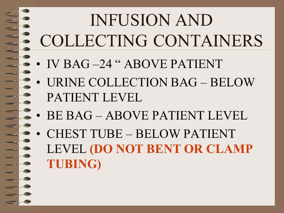INFUSION AND COLLECTING CONTAINERS