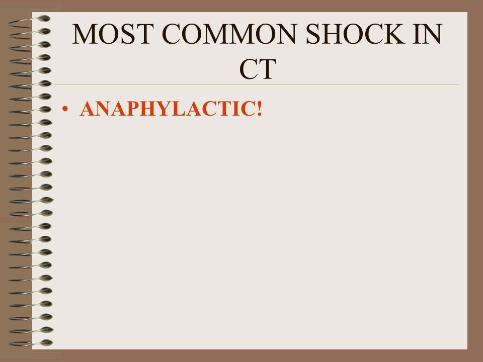 MOST COMMON SHOCK IN CT ANAPHYLACTIC!
