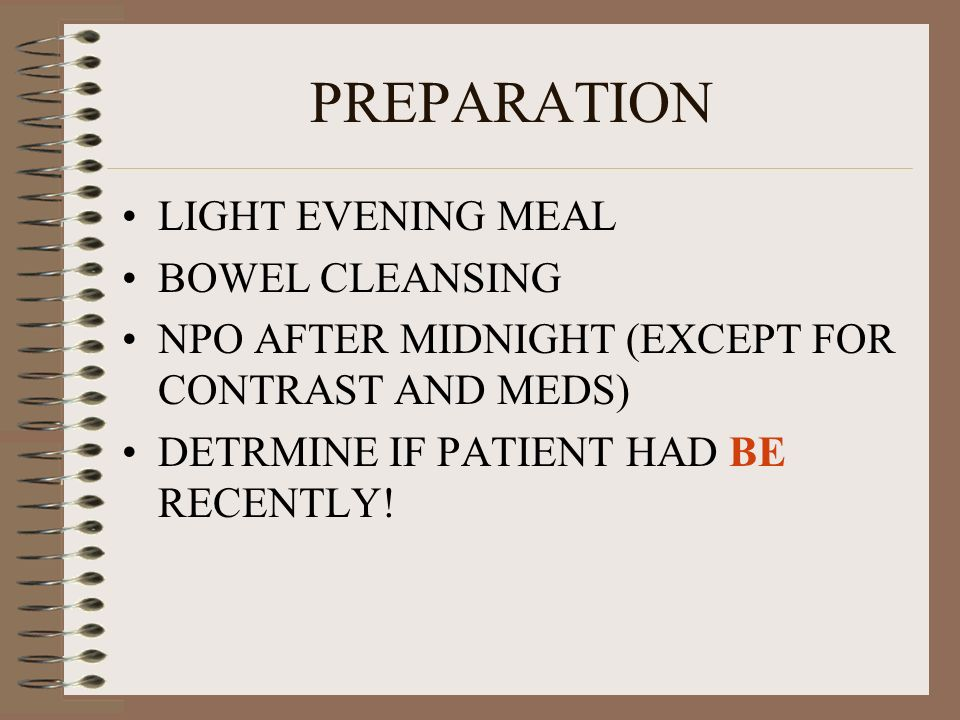 PREPARATION LIGHT EVENING MEAL BOWEL CLEANSING