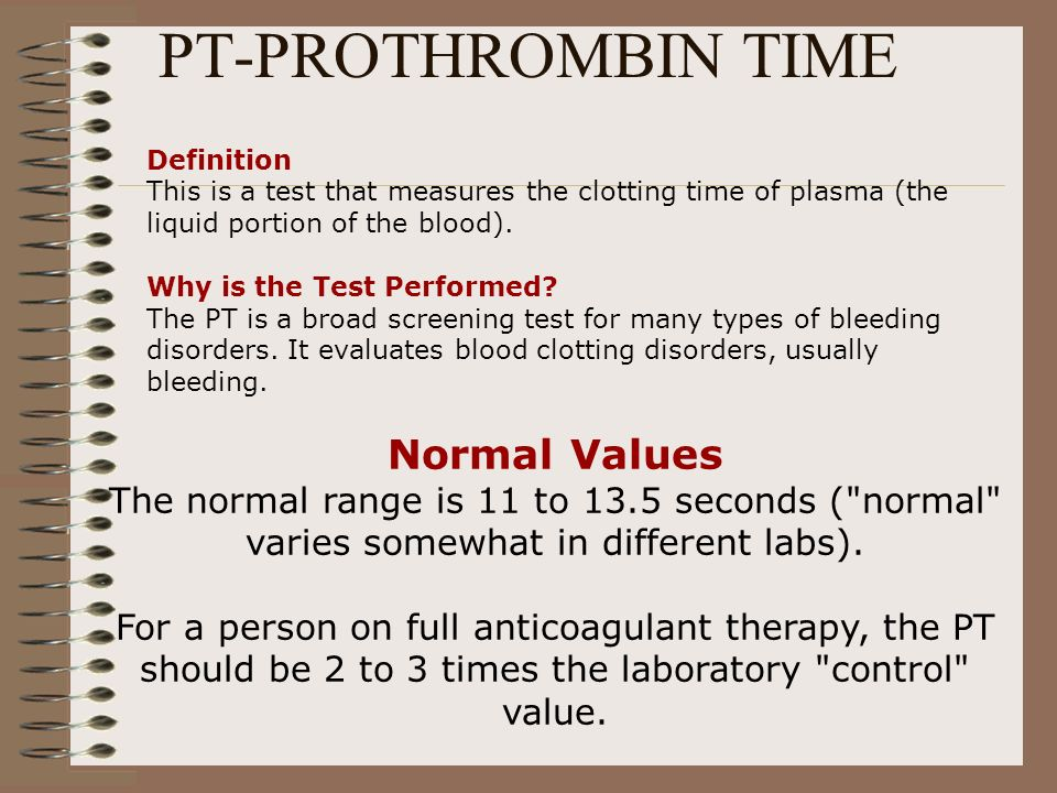 PT-PROTHROMBIN TIME Normal Values