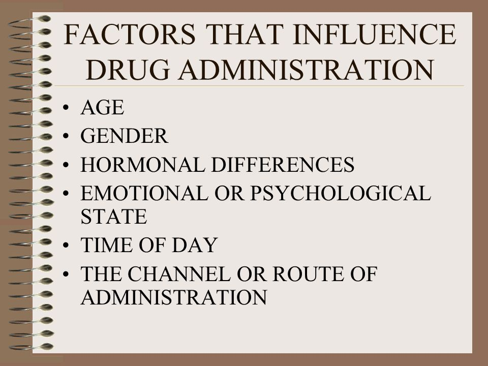 FACTORS THAT INFLUENCE DRUG ADMINISTRATION