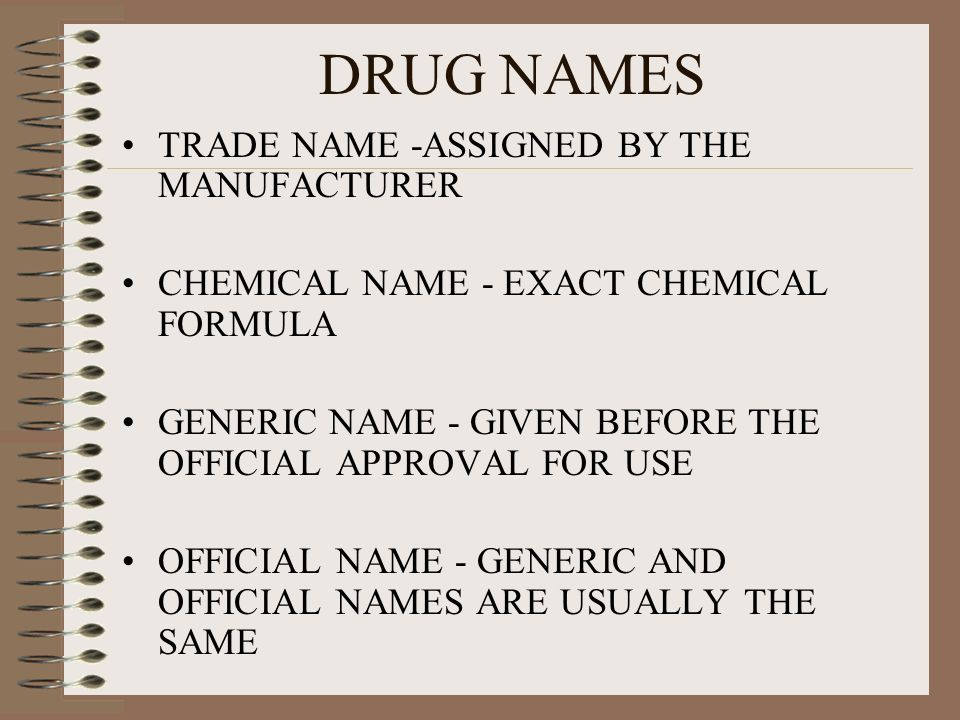 DRUG NAMES TRADE NAME -ASSIGNED BY THE MANUFACTURER