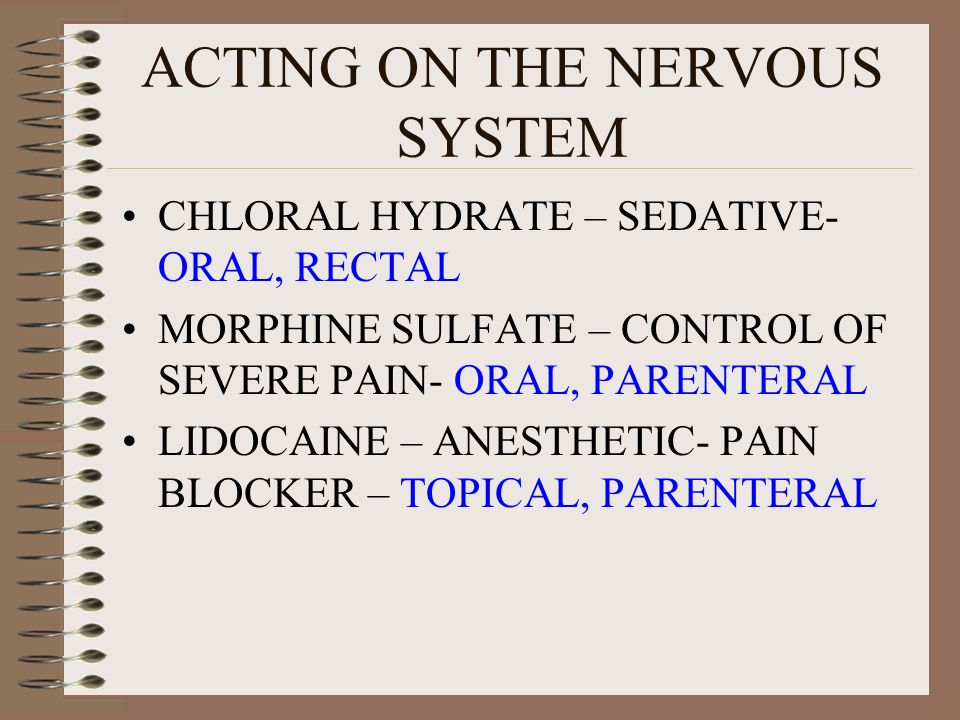 ACTING ON THE NERVOUS SYSTEM