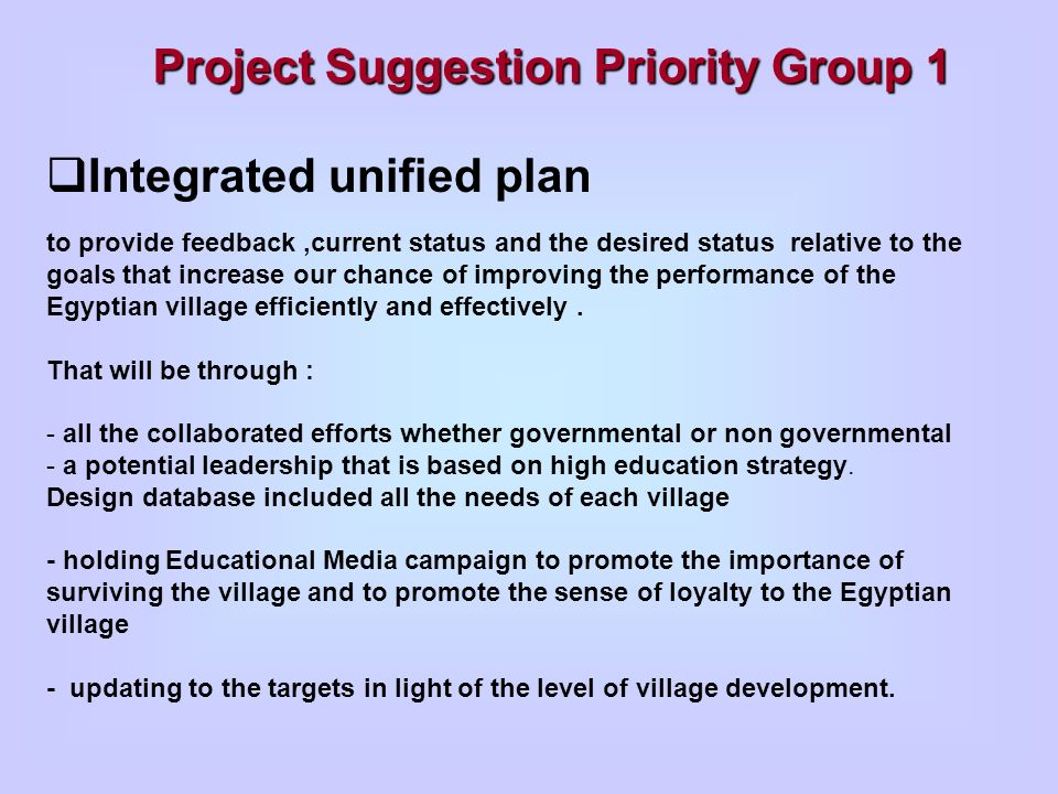 Project Suggestion Priority Group 1