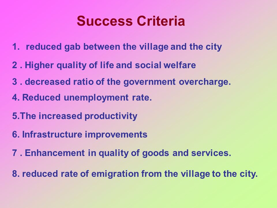Success Criteria reduced gab between the village and the city