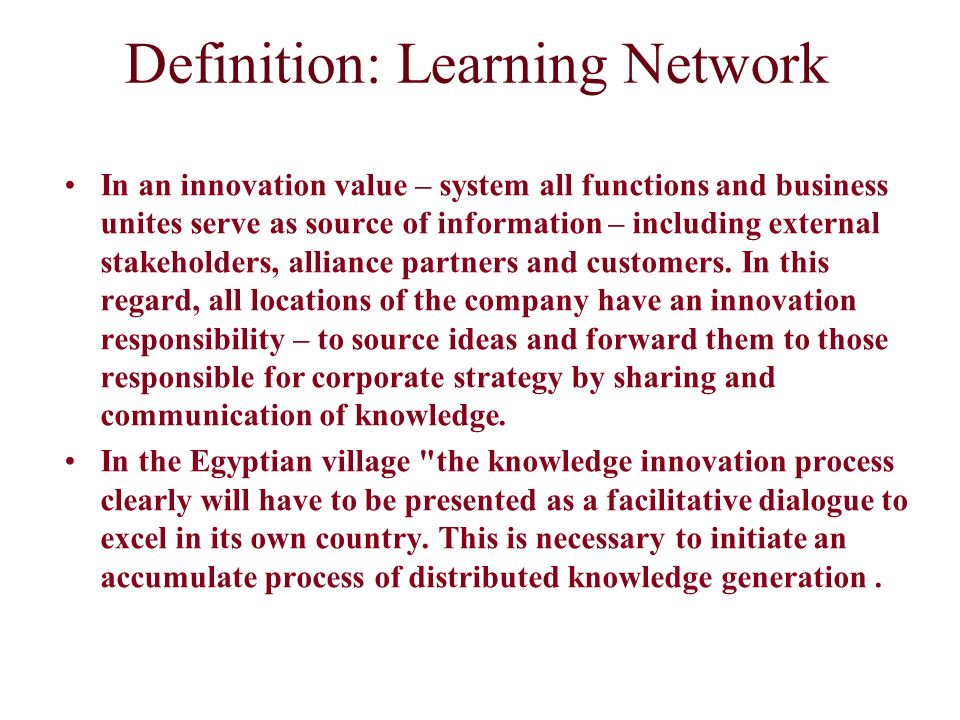 Definition: Learning Network