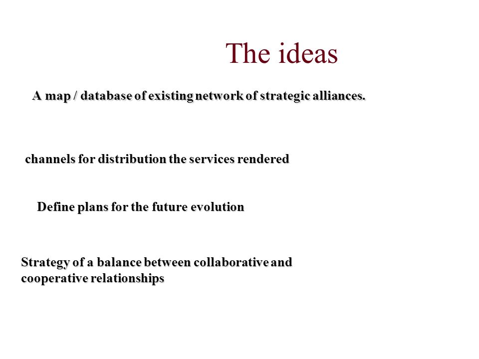 The ideas A map / database of existing network of strategic alliances.