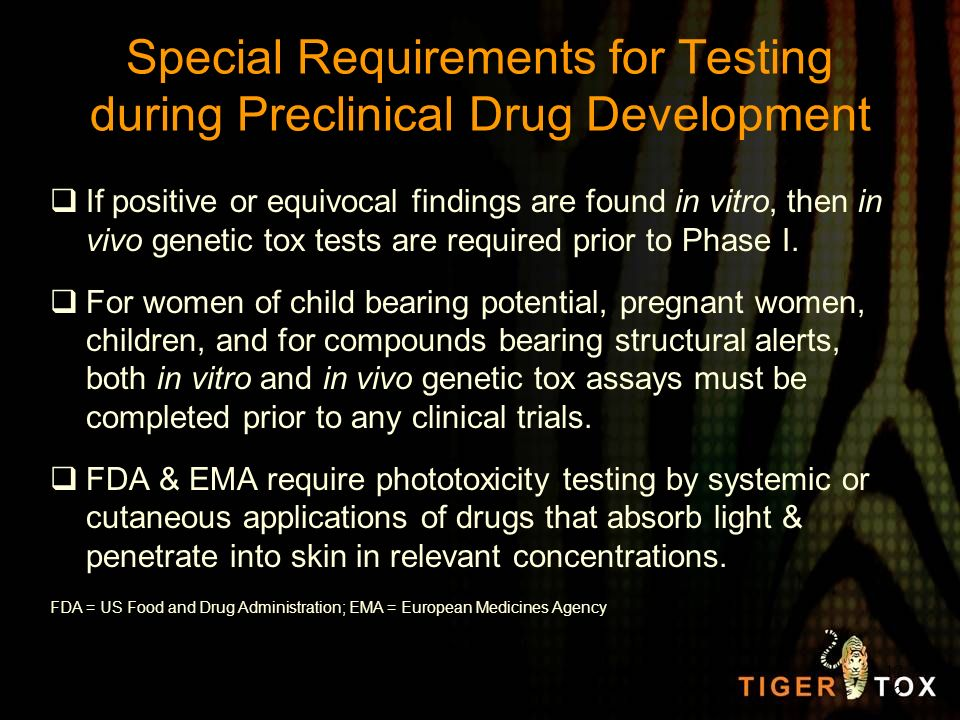 Special Requirements for Testing during Preclinical Drug Development