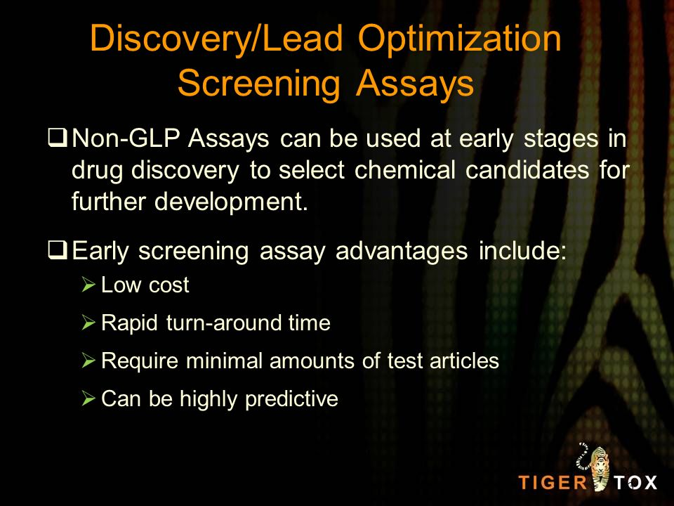 Discovery/Lead Optimization Screening Assays