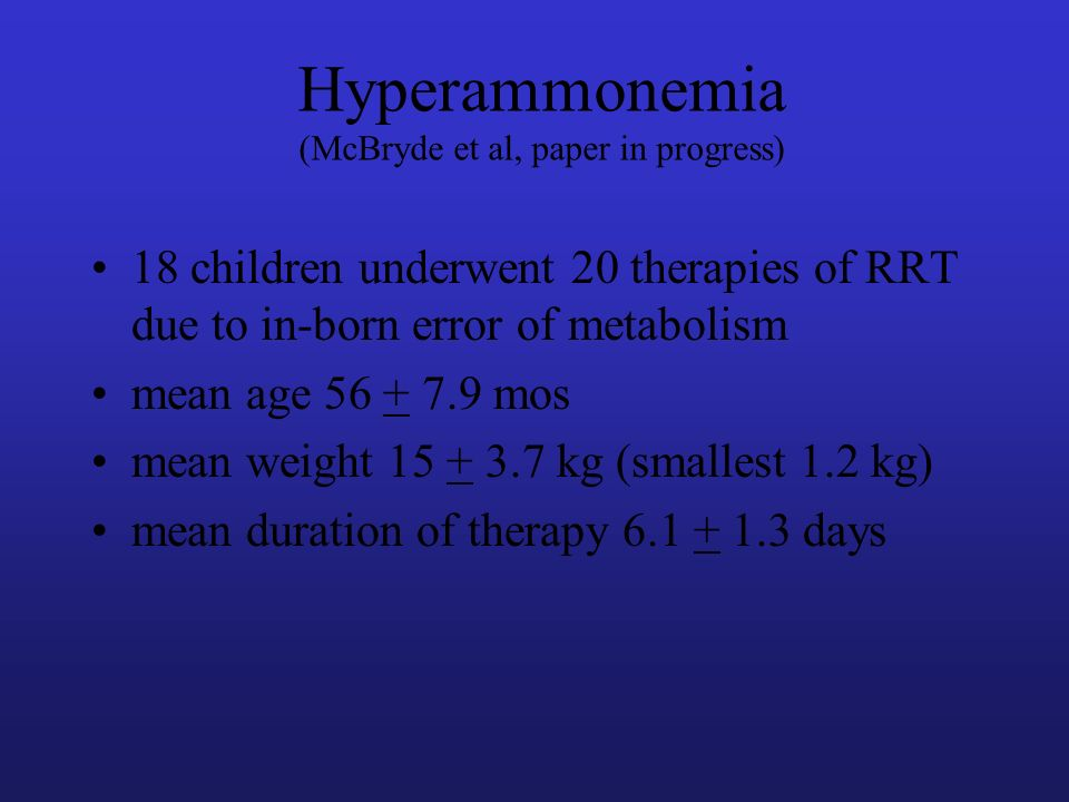 Hyperammonemia (McBryde et al, paper in progress)