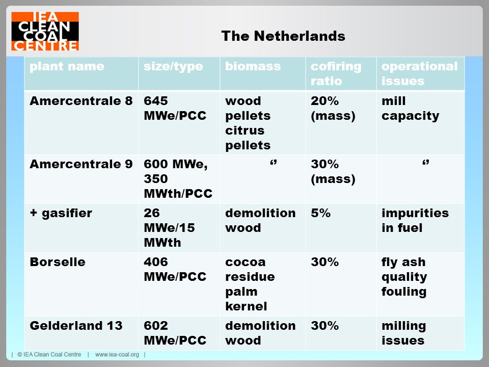 The Netherlands plant name size/type biomass cofiring ratio