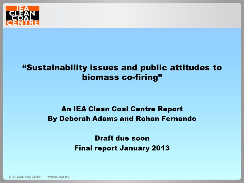 Sustainability issues and public attitudes to biomass co-firing