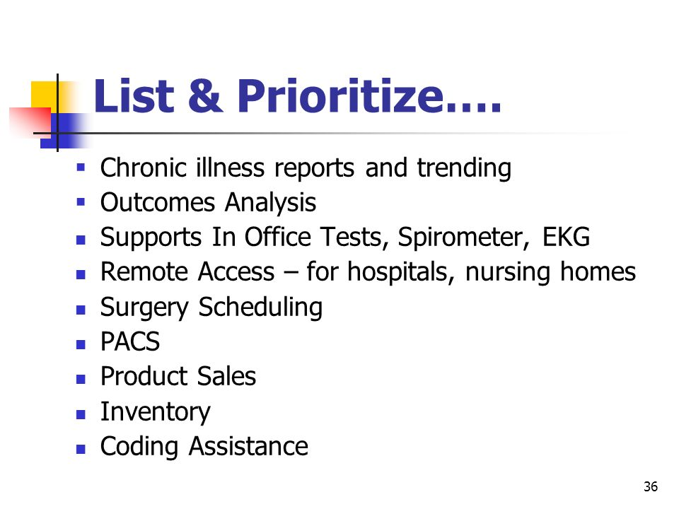 List & Prioritize…. Chronic illness reports and trending