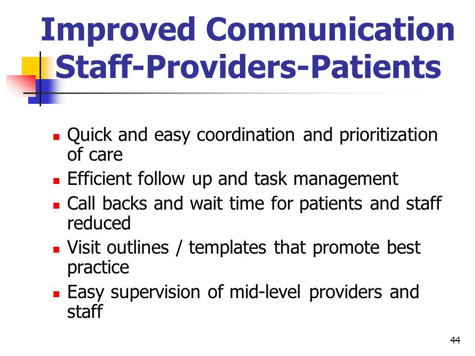 Improved Communication Staff-Providers-Patients