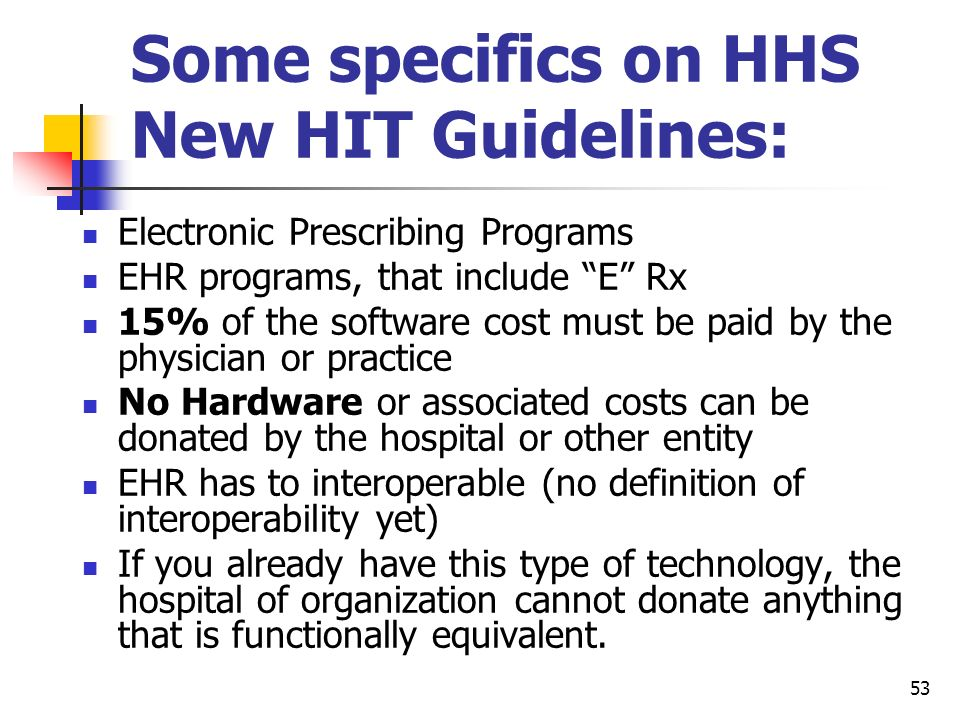 Some specifics on HHS New HIT Guidelines: