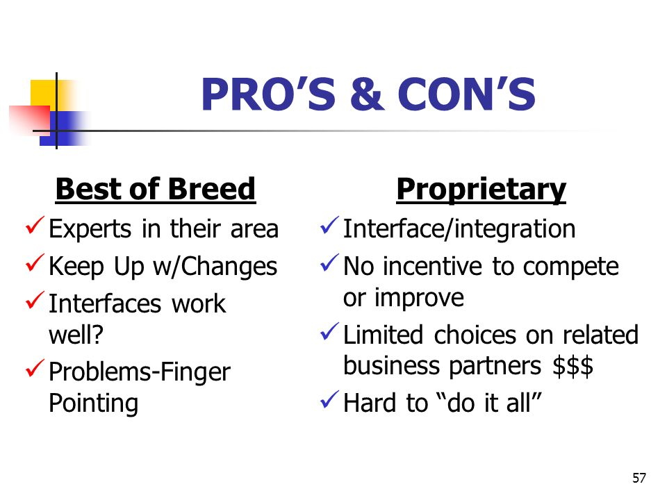 PRO'S & CON'S Best of Breed Proprietary Experts in their area