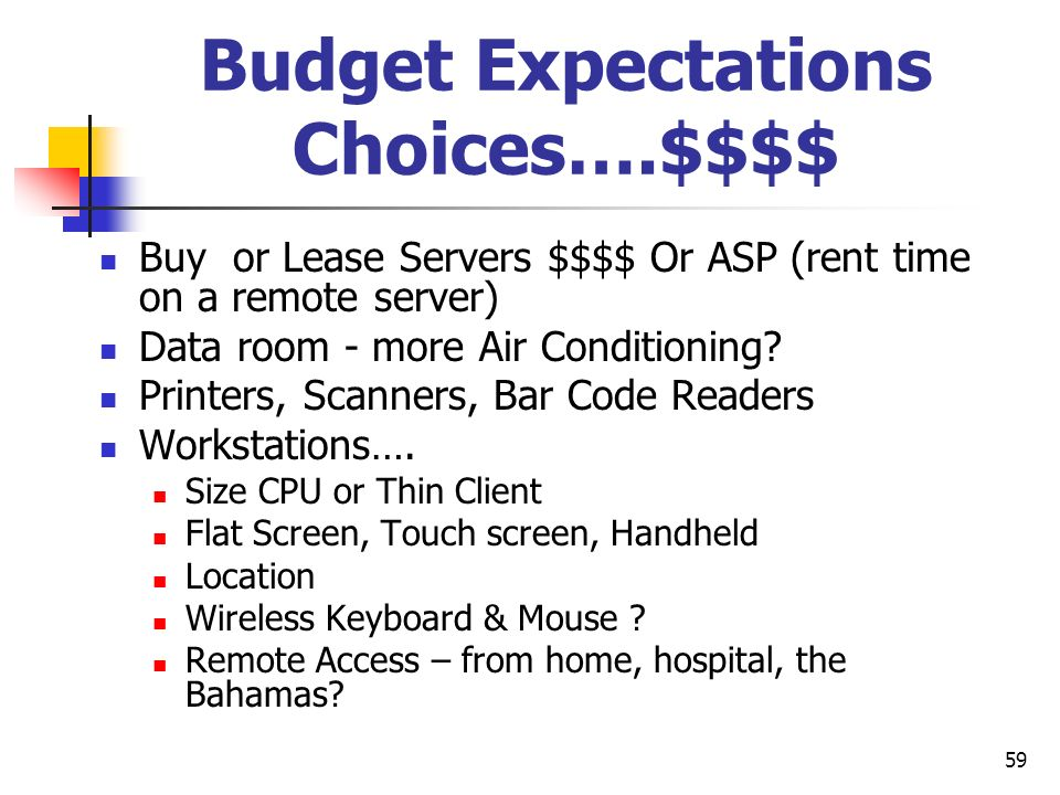 Budget Expectations Choices….$$$$
