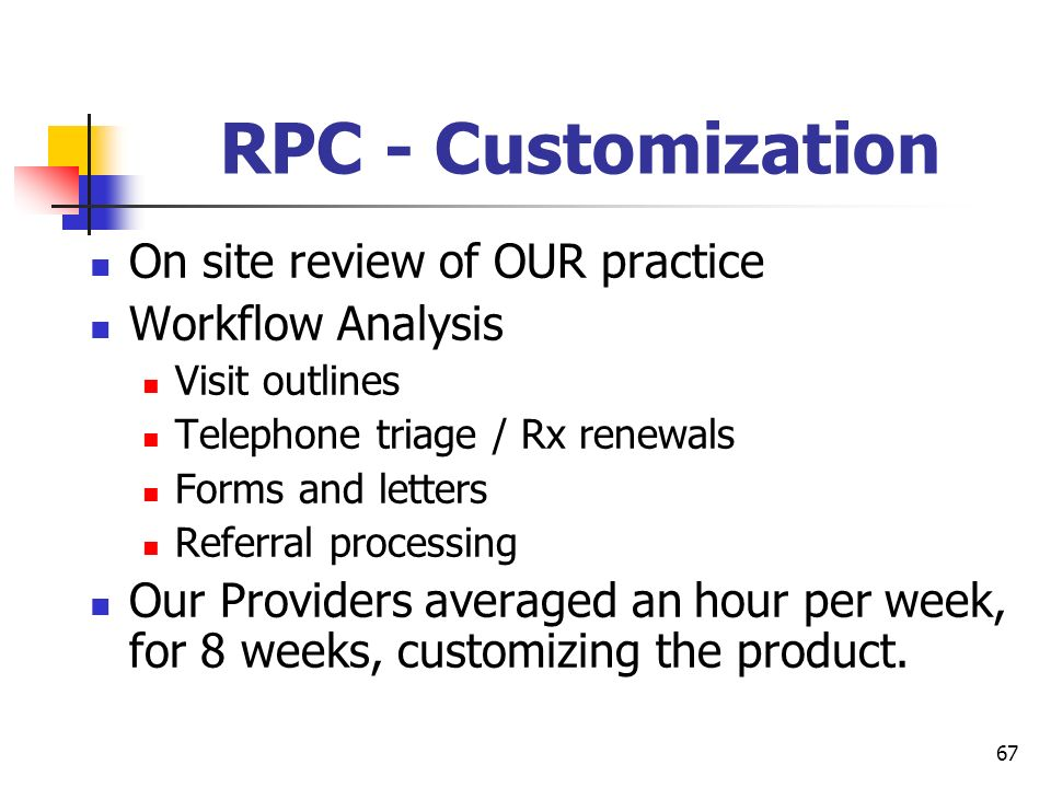 RPC - Customization On site review of OUR practice Workflow Analysis