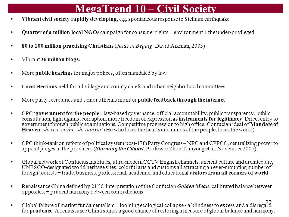 MegaTrend 10 – Civil Society