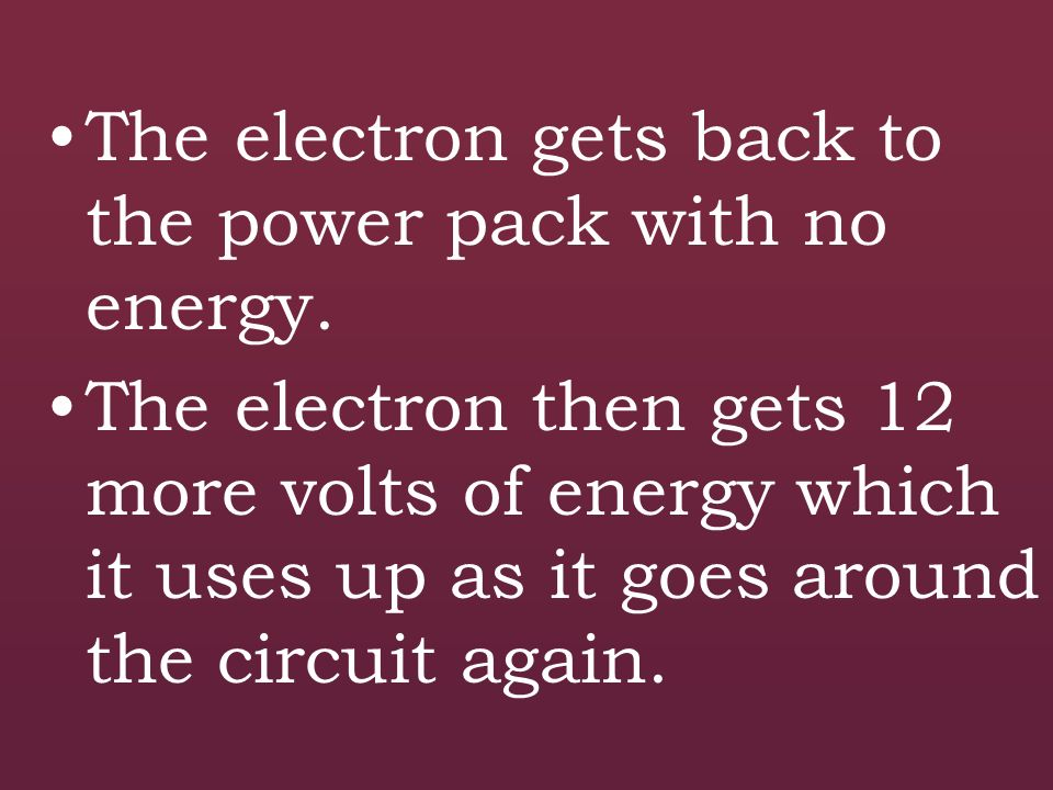 The electron gets back to the power pack with no energy.