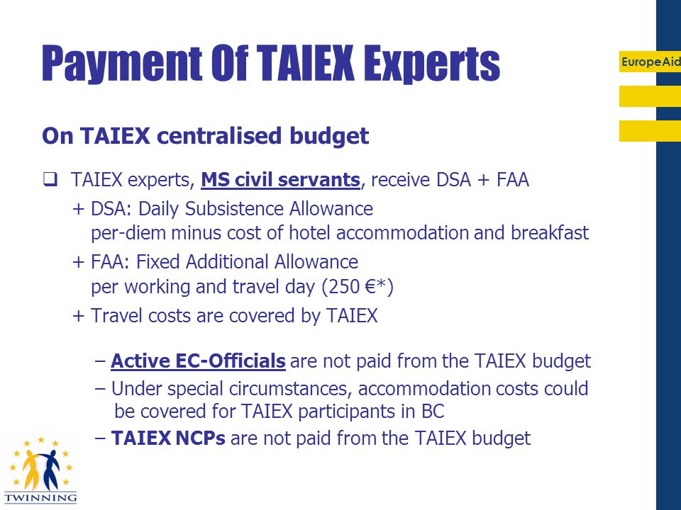 Payment Of TAIEX Experts