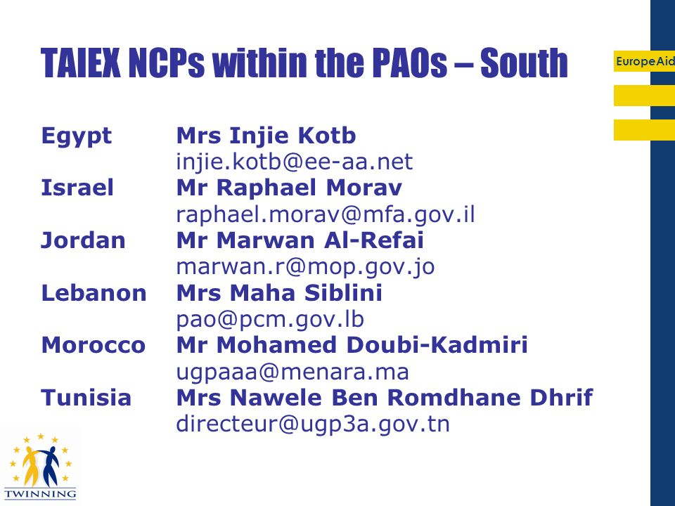 TAIEX NCPs within the PAOs – South