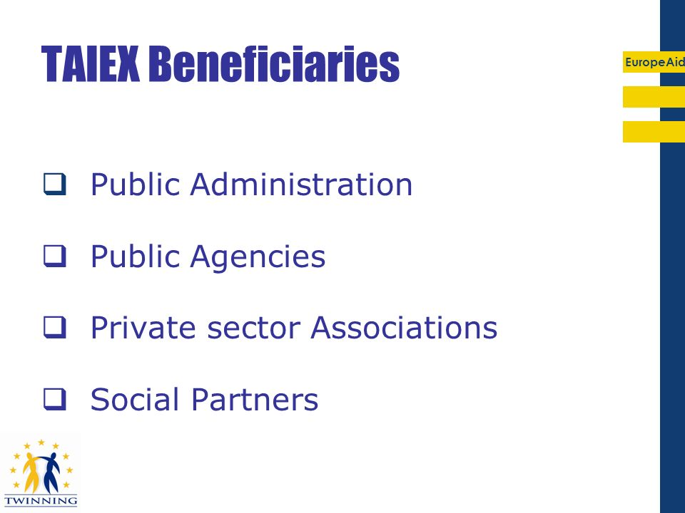 TAIEX Beneficiaries Public Administration Public Agencies